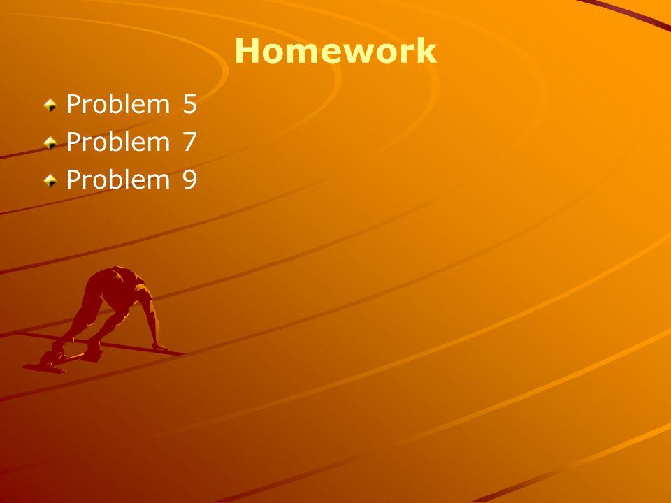 Homework Problem 5 Problem 7 Problem 9