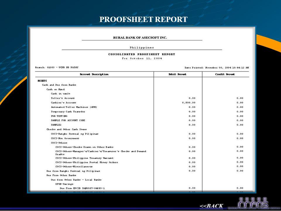 PROOFSHEET REPORT