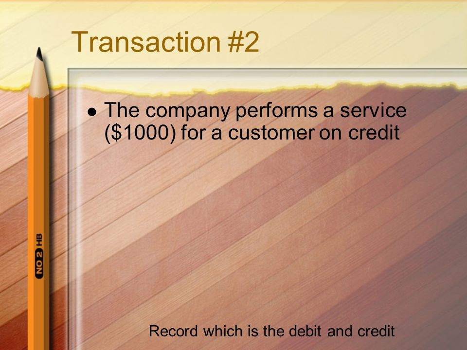 Transaction #2 The company performs a service ($1000) for a customer on credit Record which is the debit and credit