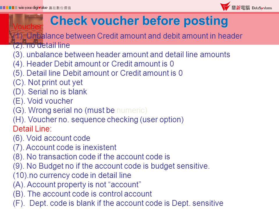 Check voucher before posting Voucher: (1).