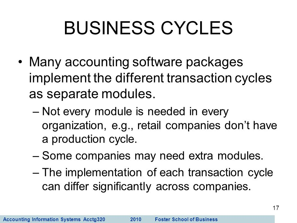 Accounting Information Systems Acctg320 2010 Foster School of Business 17 Many accounting software packages implement the different transaction cycles