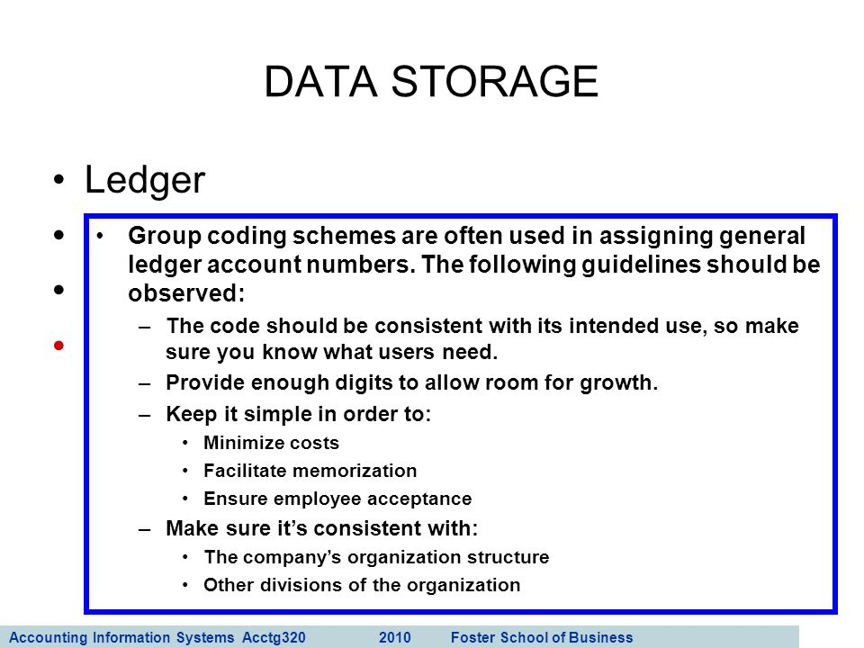 Accounting Information Systems Acctg320 2010 Foster School of Business 35 Ledger General ledger Subsidiary ledger Coding techniques DATA STORAGE Group