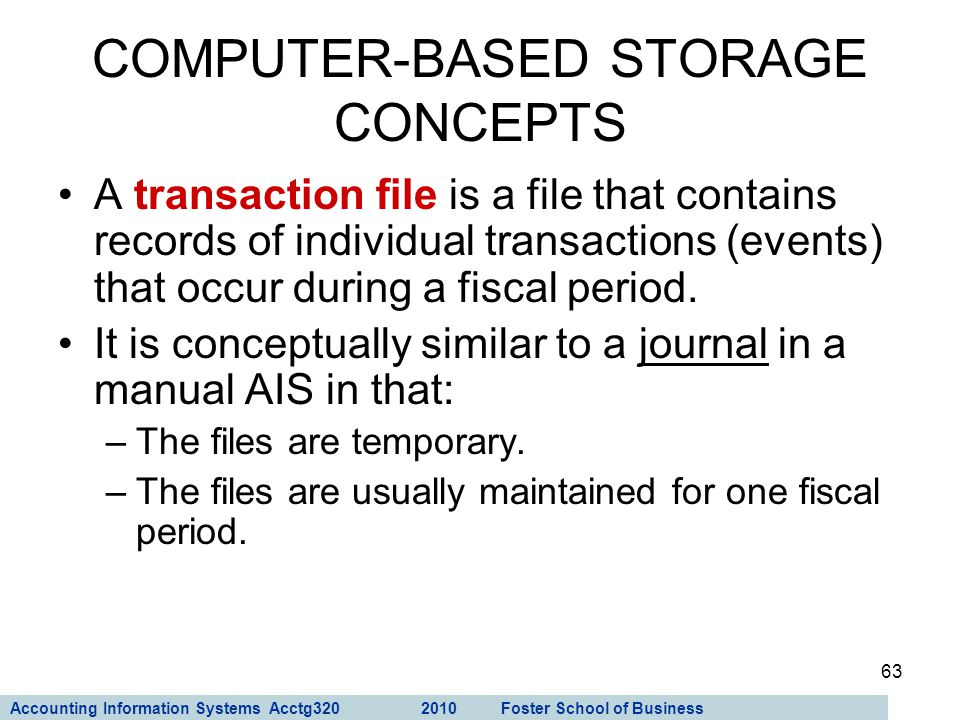 Accounting Information Systems Acctg320 2010 Foster School of Business 63 A transaction file is a file that contains records of individual transaction