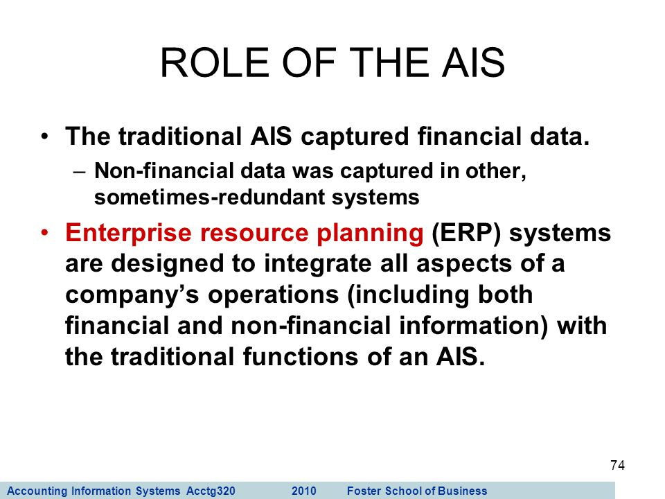 Accounting Information Systems Acctg320 2010 Foster School of Business 74 The traditional AIS captured financial data. –Non-financial data was capture