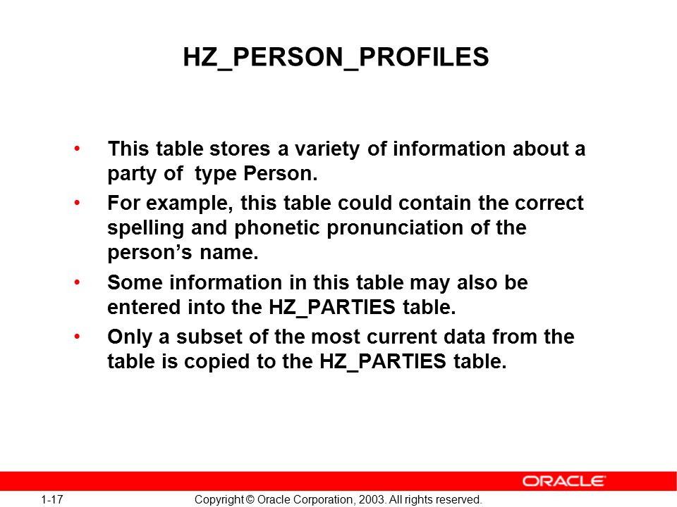 1-17 Copyright © Oracle Corporation, 2003. All rights reserved.