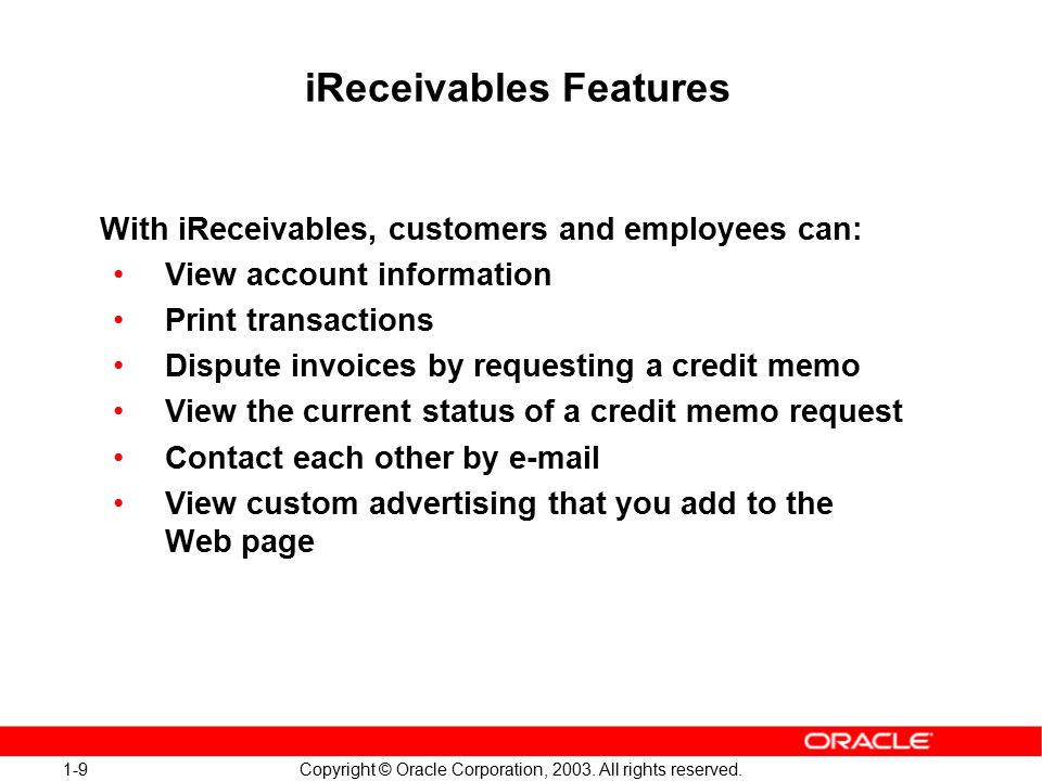 1-20 Copyright © Oracle Corporation, 2003.All rights reserved.
