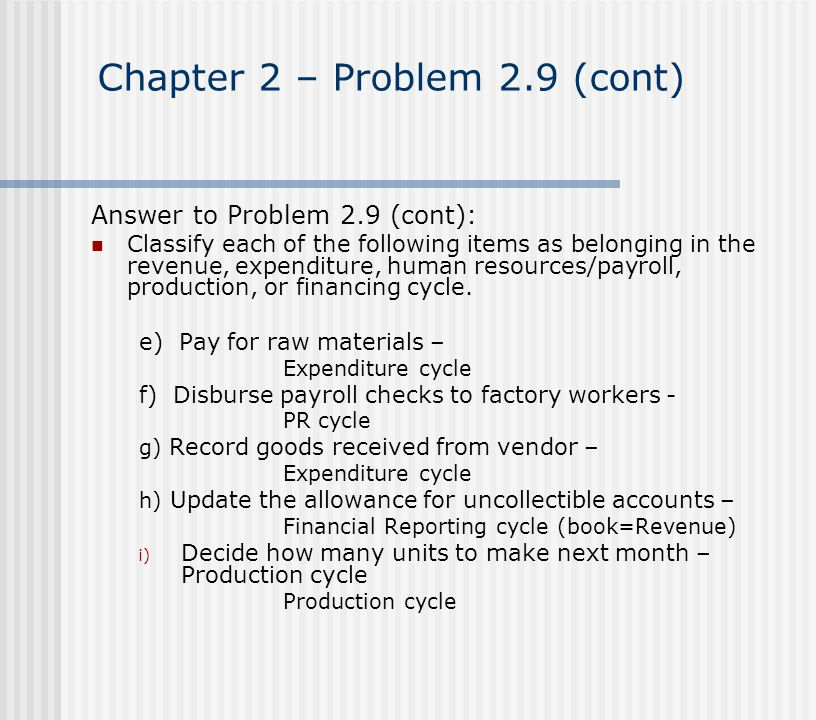 Chapter 2 – Problem 2.9 (cont) Answer to Problem 2.9 (cont): Classify each of the following items as belonging in the revenue, expenditure, human reso