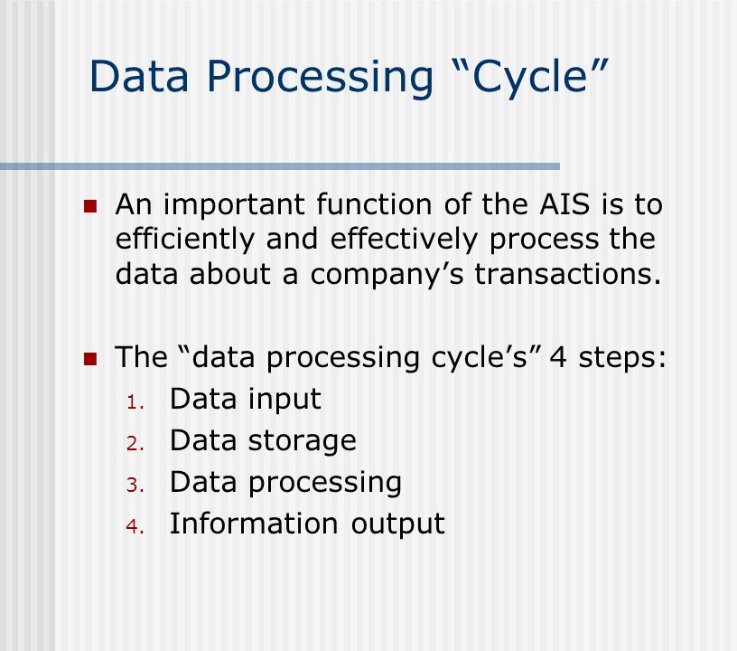 "Data Processing ""Cycle"" An important function of the AIS is to efficiently and effectively process the data about a company's transactions. The ""data"