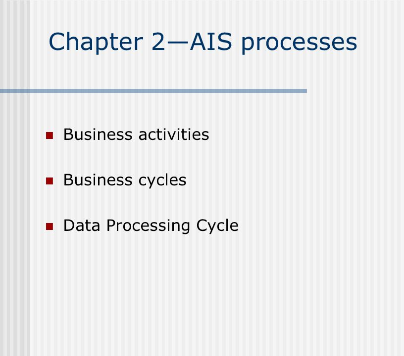 Chapter 2—AIS processes Business activities Business cycles Data Processing Cycle
