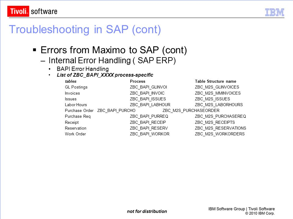 not for distribution Troubleshooting in SAP (cont)  Errors from Maximo to SAP (cont) –Internal Error Handling ( SAP ERP) BAPI Error Handling List of