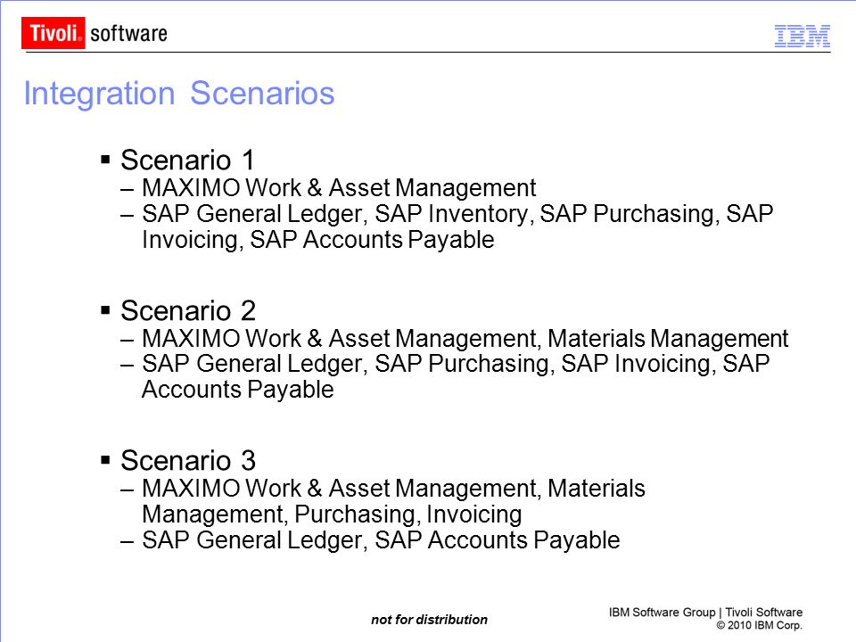 not for distribution Integration Scenarios  Scenario 1 –MAXIMO Work & Asset Management –SAP General Ledger, SAP Inventory, SAP Purchasing, SAP Invoic