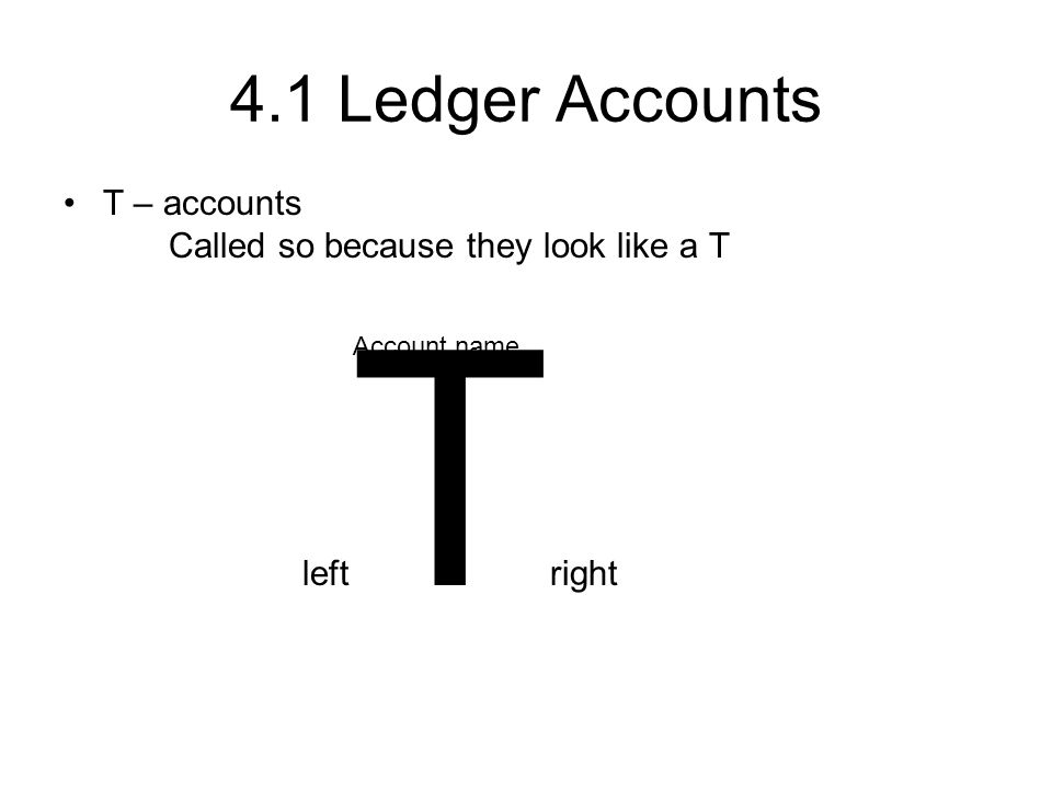 4.1 Ledger Accounts T – accounts Called so because they look like a T left T right Account name
