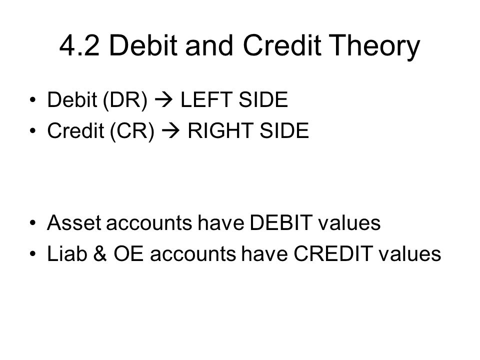 4.2 Debit and Credit Theory Debit (DR)  LEFT SIDE Credit (CR)  RIGHT SIDE Asset accounts have DEBIT values Liab & OE accounts have CREDIT values