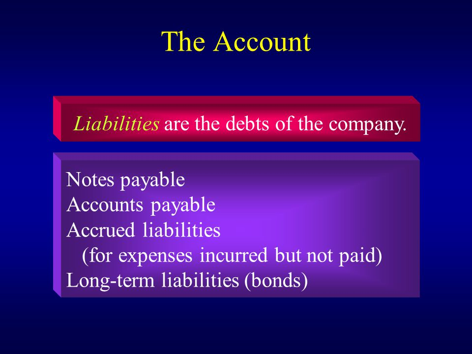 The Account Liabilities are the debts of the company.