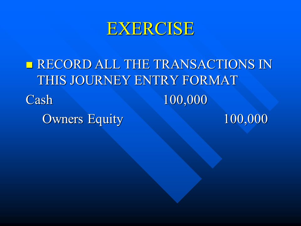 EXERCISE RECORD ALL THE TRANSACTIONS IN THIS JOURNEY ENTRY FORMAT RECORD ALL THE TRANSACTIONS IN THIS JOURNEY ENTRY FORMAT Cash 100,000 Owners Equity 100,000 Owners Equity 100,000