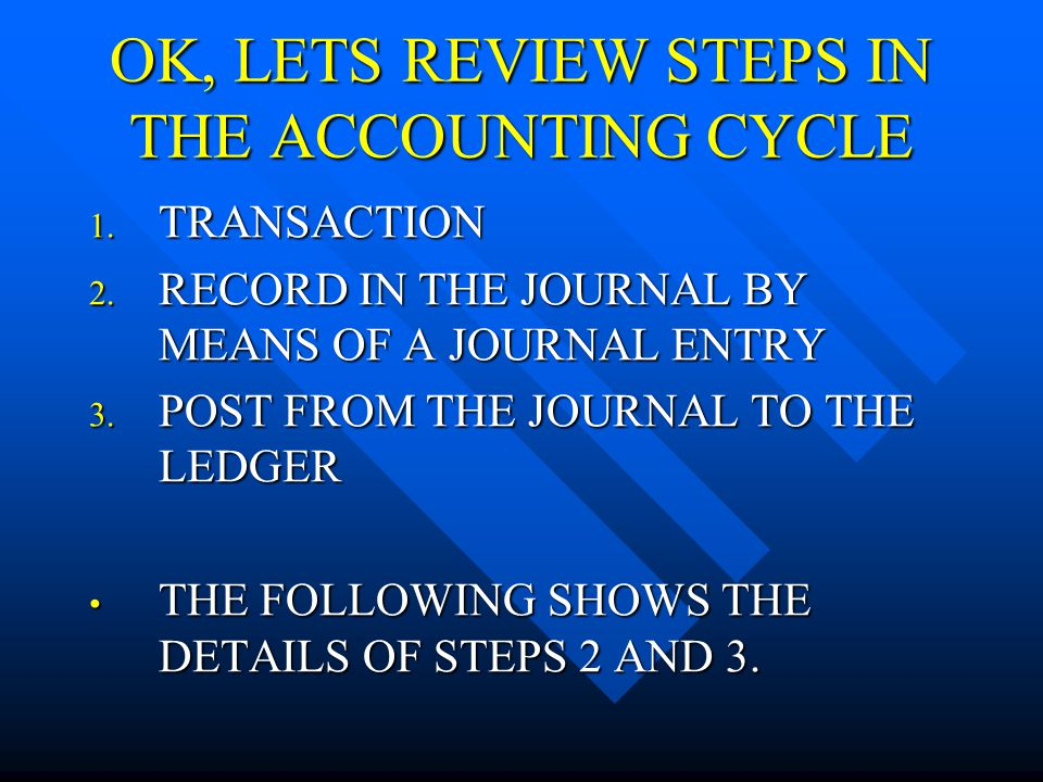 OK, LETS REVIEW STEPS IN THE ACCOUNTING CYCLE 1.TRANSACTION 2.