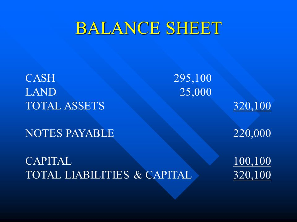 BALANCE SHEET CASH295,100 LAND 25,000 TOTAL ASSETS320,100 NOTES PAYABLE220,000 CAPITAL100,100 TOTAL LIABILITIES & CAPITAL320,100