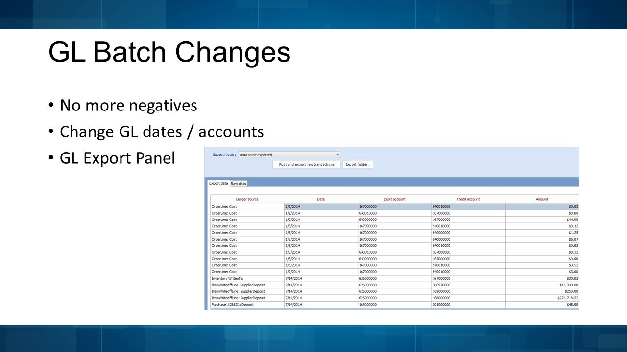 GL Batch Changes No more negatives Change GL dates / accounts GL Export Panel