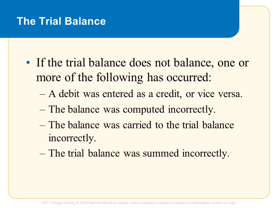 The Trial Balance If the trial balance does not balance, one or more of the following has occurred: –A debit was entered as a credit, or vice versa. –