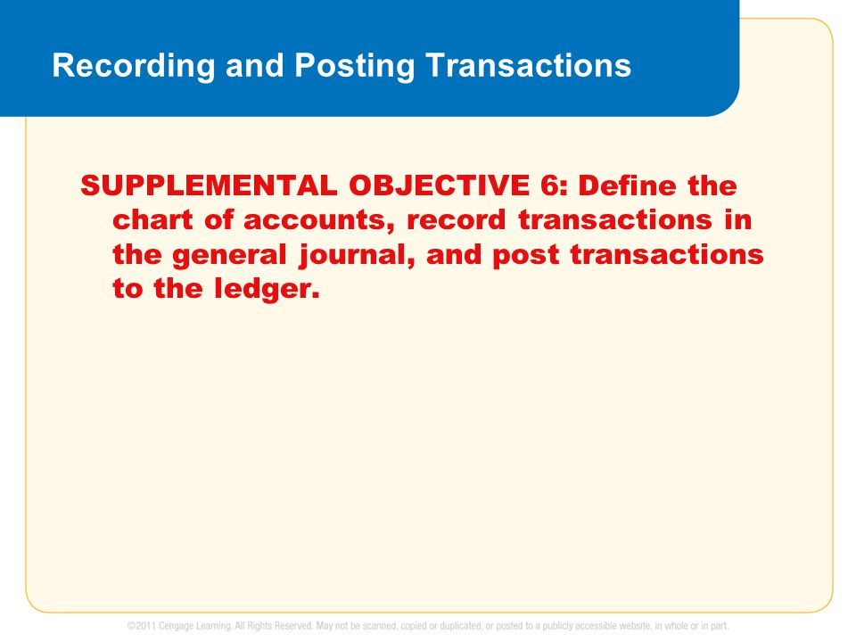 Recording and Posting Transactions SUPPLEMENTAL OBJECTIVE 6: Define the chart of accounts, record transactions in the general journal, and post transa