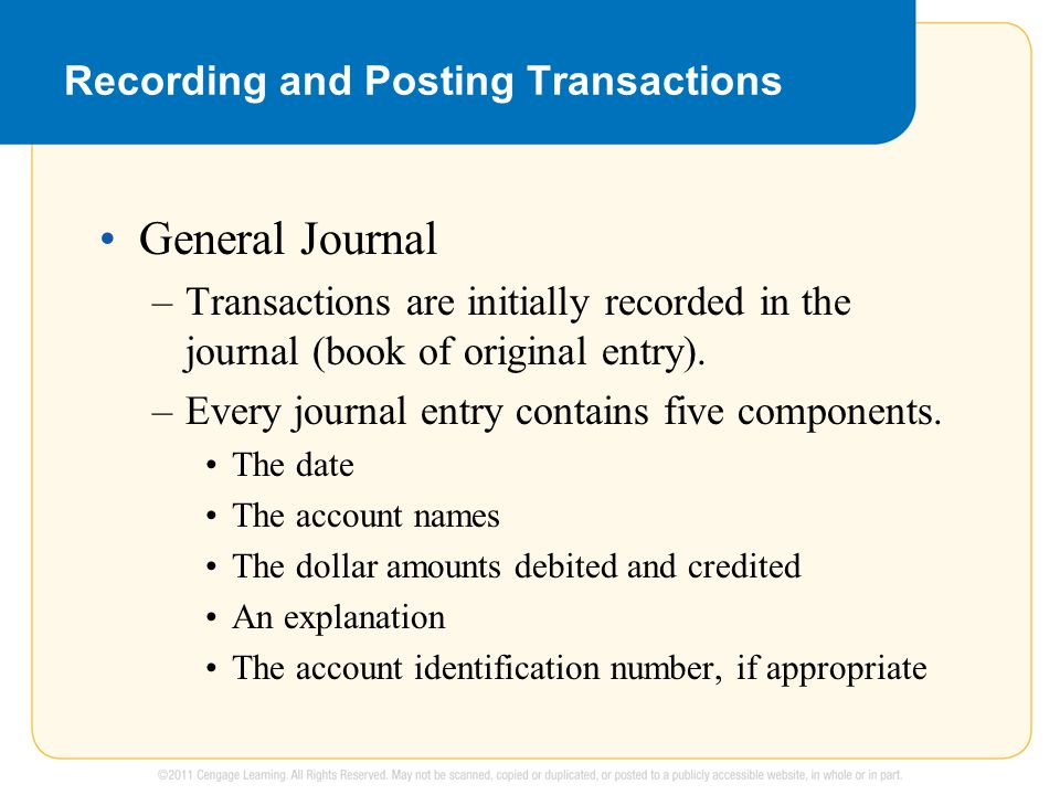 Recording and Posting Transactions General Journal –Transactions are initially recorded in the journal (book of original entry). –Every journal entry