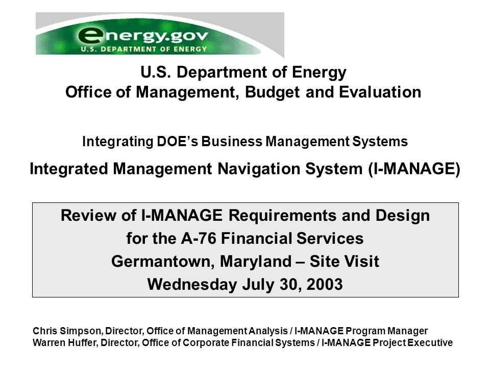 Department of Energy I-MANAGE Program Page 32 Office of Management Analysis / OMBE Accounting Events Within STARS General Ledger Purchasing Accounts Payable Accounts Receivable Fixed Assets STARS Oracle Federal Financials V11i Additions (Write-on) Consumption Deletions (Write-offs) Isotopes inventory Nuclear Material Stockpile Plant and Equipment Changes (repairs, maintenance, alterations, betterments) CWIP D&D Abandonments Contract Project Closeouts Depreciation Sale of PP&E Sale of SPRO reserves Retirements Inventory Replenishments Inventory Purchases Donations Capital Leases Gains and Losses Extraordinary Items Reconciliation of Real Property Reconciliation of Personal Property Issuing of Funded Inventory Reclassification of Inventory Allowance for Loss on Inventory Transfers of Inventory and Related Costs (Interoffice, Intra-office, Excess, Non-Reimbursable) FA Transactions Note: For initial implementation, limited property management capabilities will be utilized
