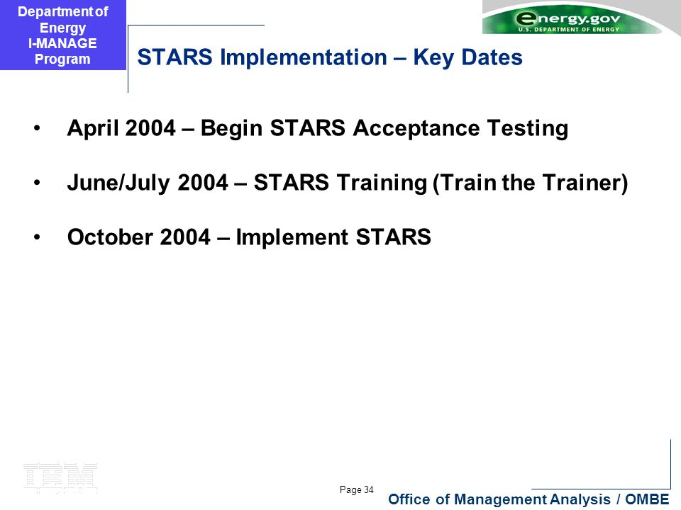 Department of Energy I-MANAGE Program Page 34 Office of Management Analysis / OMBE STARS Implementation – Key Dates April 2004 – Begin STARS Acceptanc