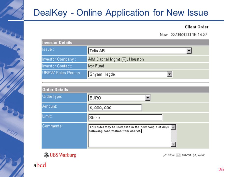 abcd 25 DealKey - Online Application for New Issue