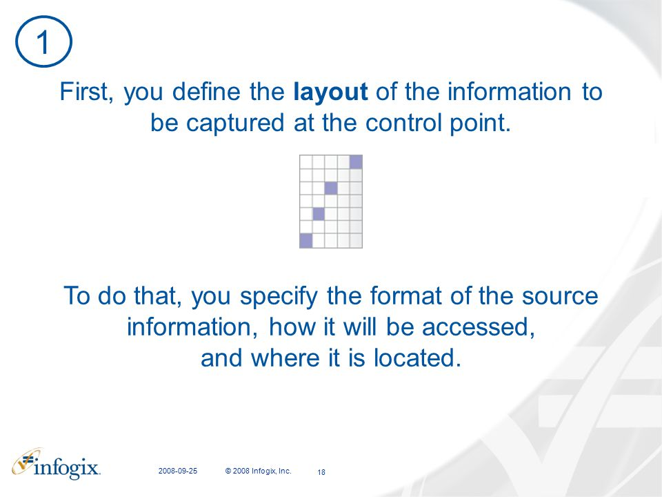 2008-09-25 © 2008 Infogix, Inc. 18 To do that, you specify the format of the source information, how it will be accessed, and where it is located. Fir