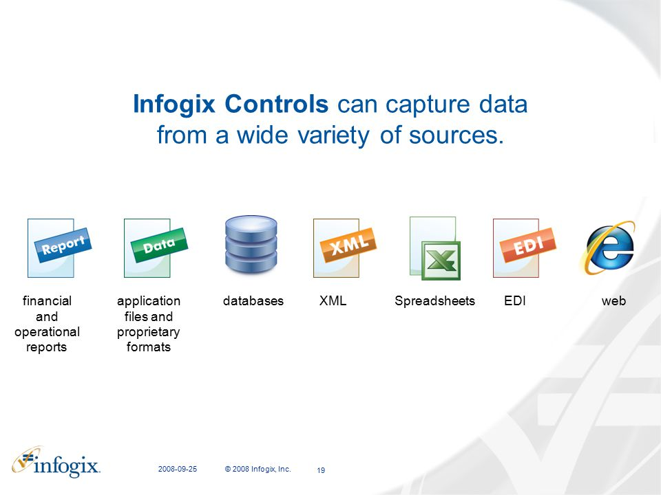 2008-09-25 © 2008 Infogix, Inc. 19 Infogix Controls can capture data from a wide variety of sources. financial and operational reports application fil