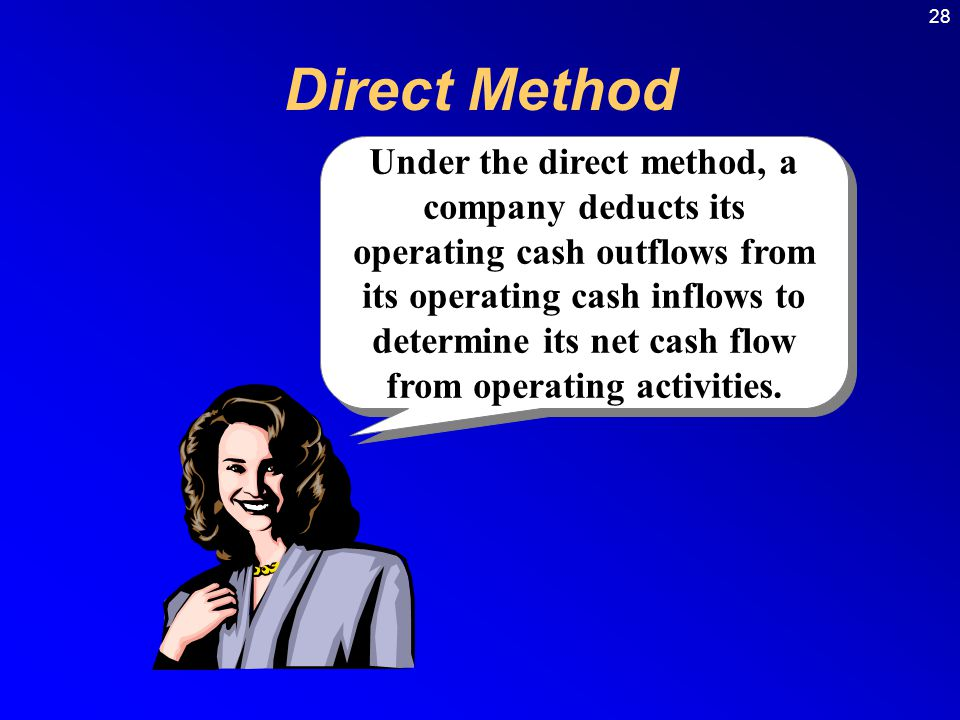 28 Direct Method Under the direct method, a company deducts its operating cash outflows from its operating cash inflows to determine its net cash flow from operating activities.