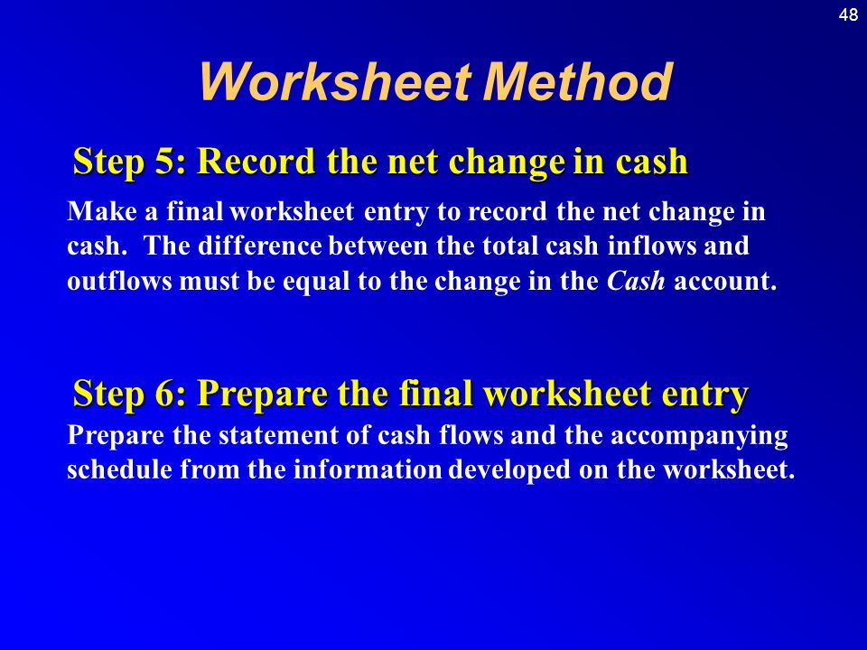 48 Make a final worksheet entry to record the net change in cash.