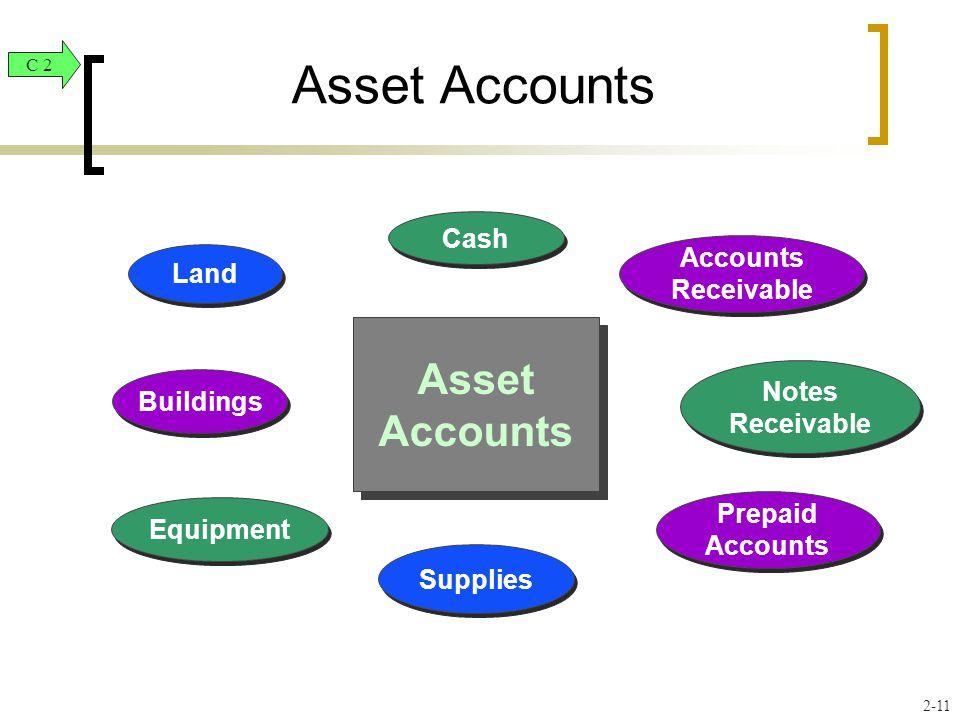 Land Equipment Buildings Cash Notes Receivable Supplies Prepaid Accounts Accounts Receivable Asset Accounts C 2 2-11