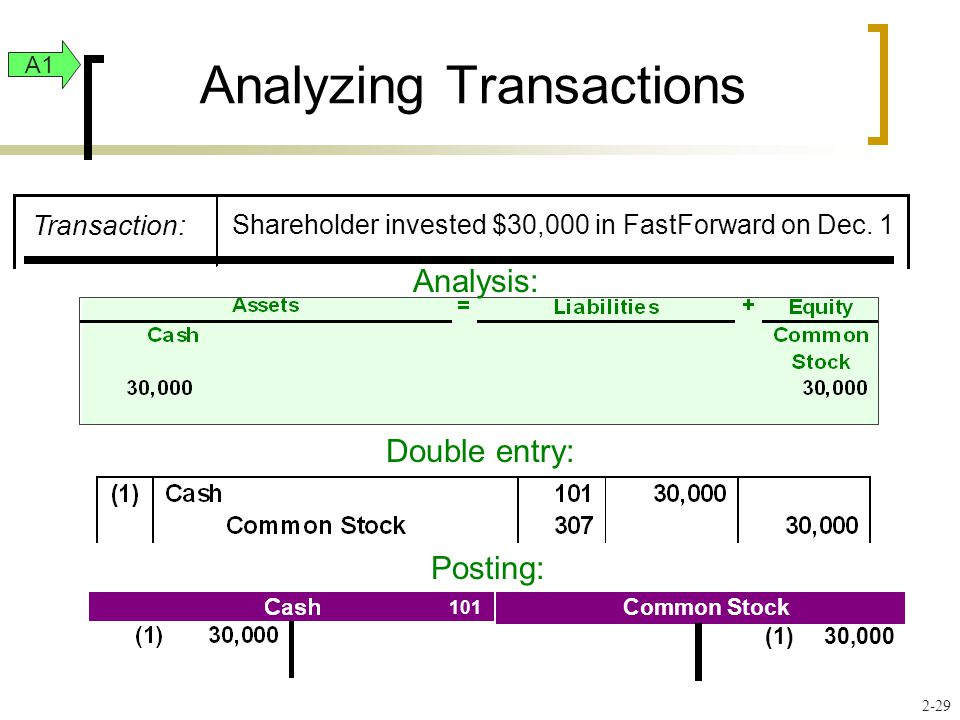 Analyzing Transactions Analysis: Double entry: 101 307 Posting: A1 2-29 Transaction: Shareholder invested $30,000 in FastForward on Dec.