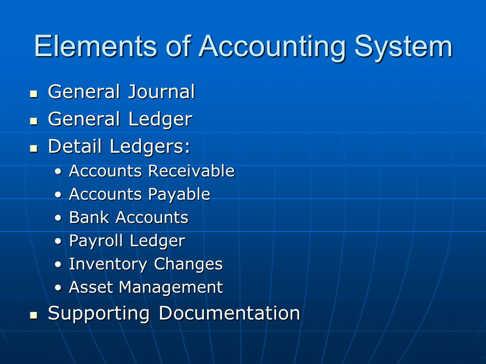 Elements of Accounting System General Journal General Journal General Ledger General Ledger Detail Ledgers: Detail Ledgers: Accounts ReceivableAccounts Receivable Accounts PayableAccounts Payable Bank AccountsBank Accounts Payroll LedgerPayroll Ledger Inventory ChangesInventory Changes Asset ManagementAsset Management Supporting Documentation Supporting Documentation
