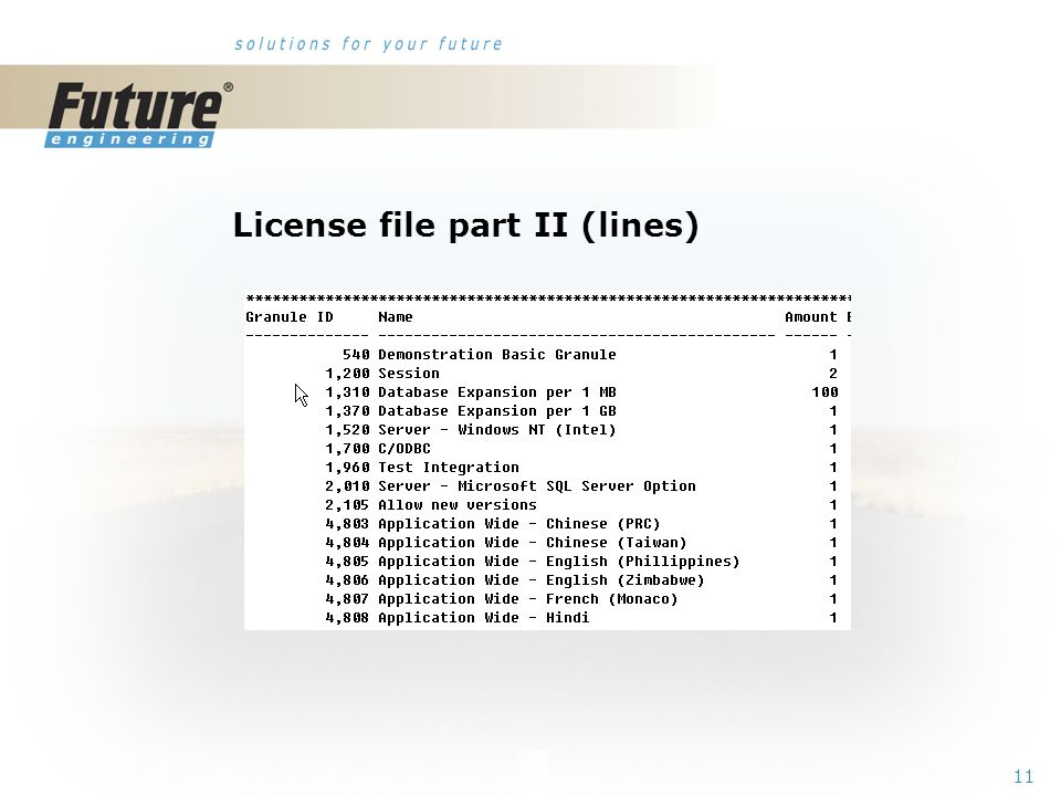 10 License file part I (header)