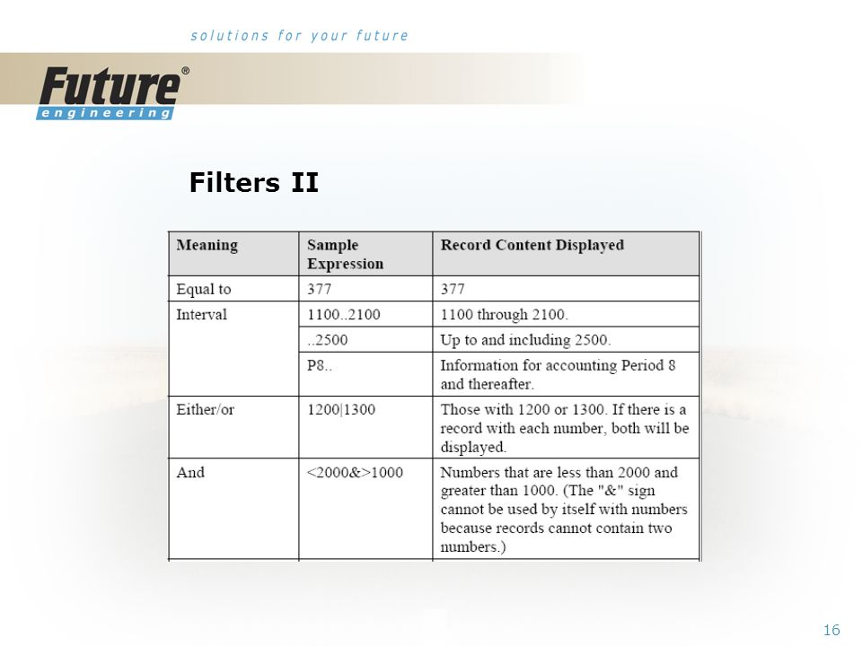 15 Filters I Tool bar Field Table Flow