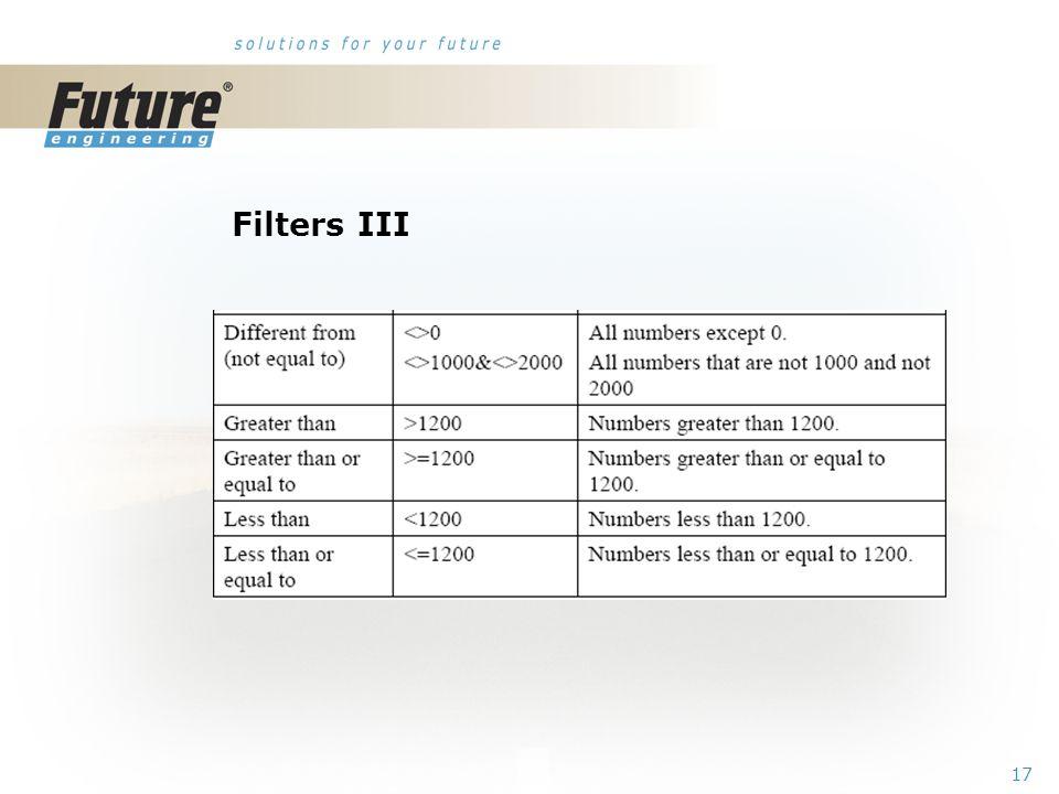 16 Filters II