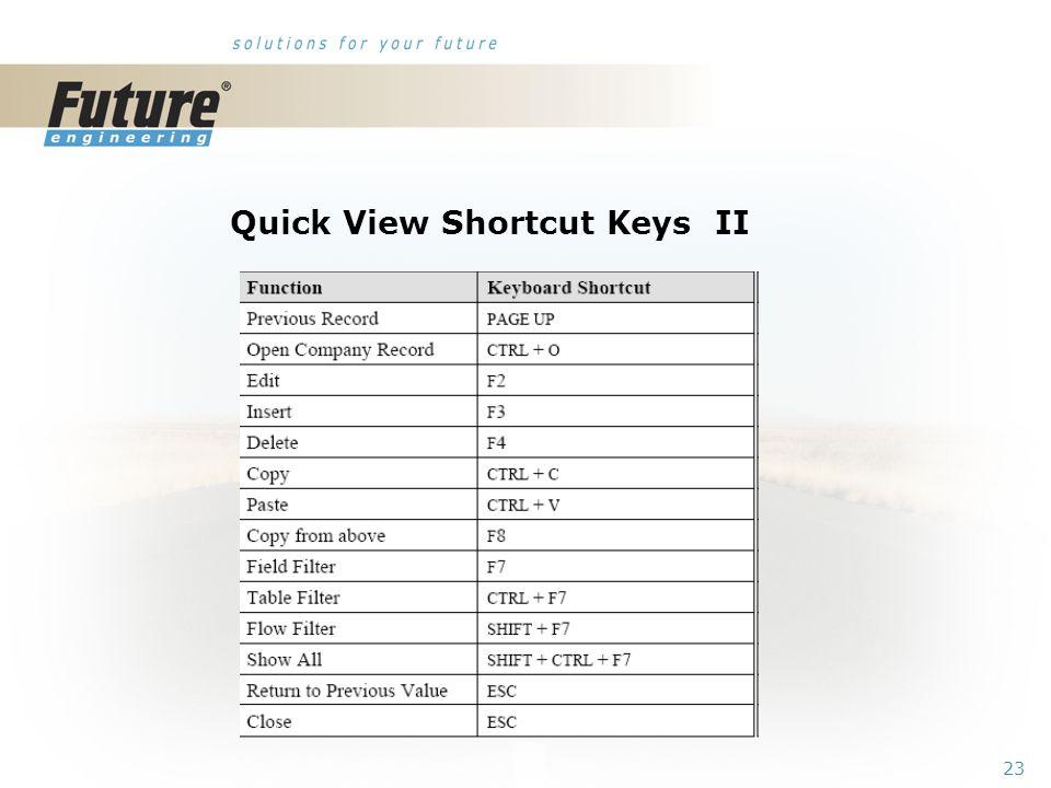 22 Quick View Shortcut Keys I