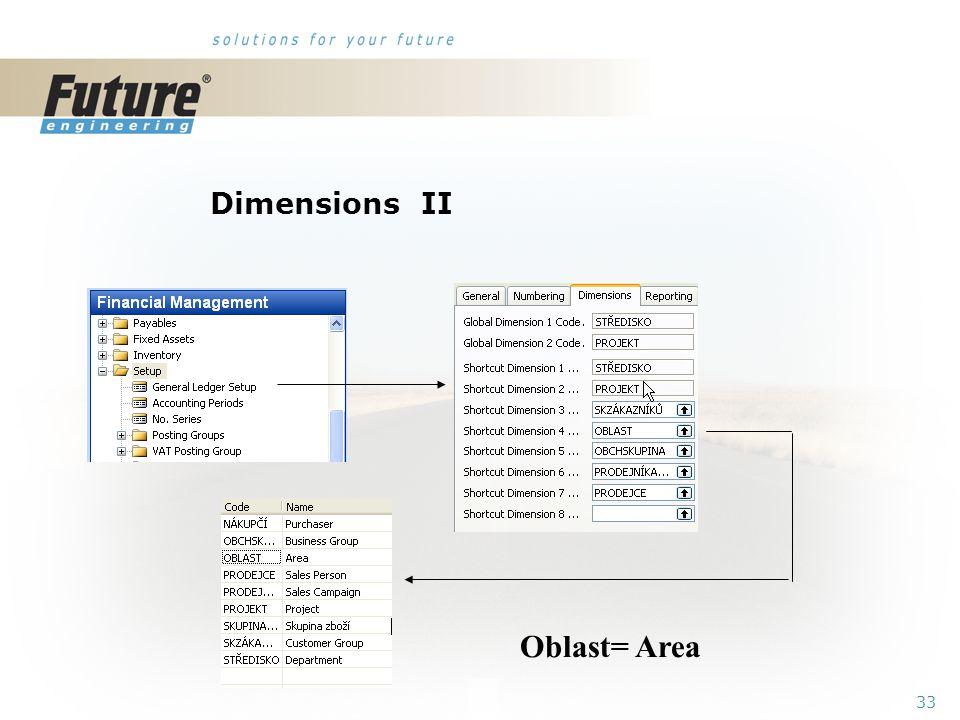 32 Dimensions I Global dimensions Shorcut dimensions Budget dimensions