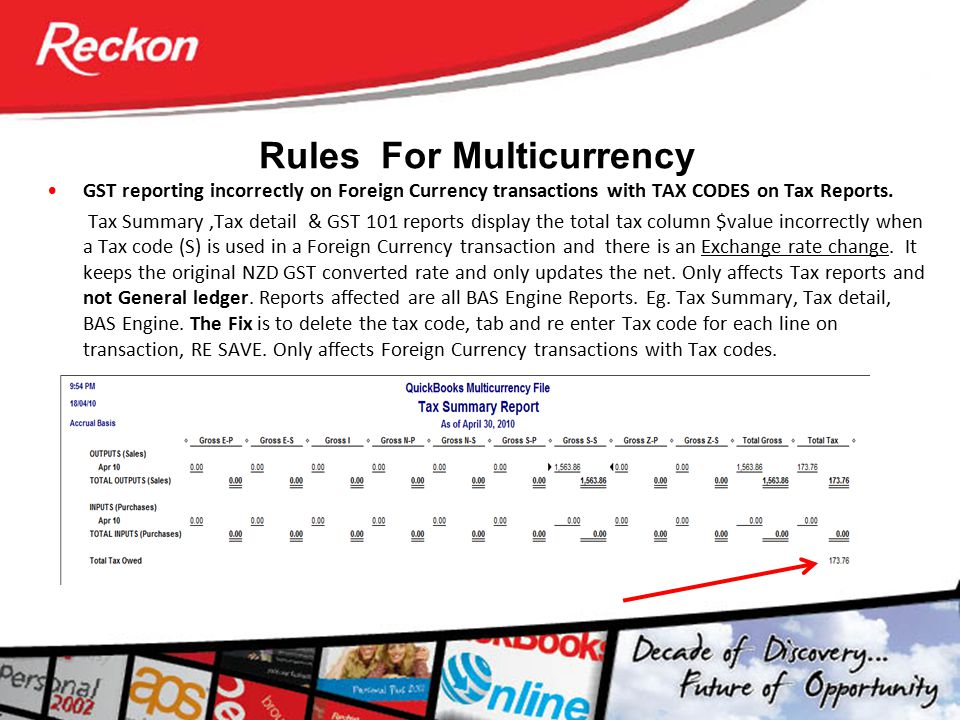 Rules For Multicurrency GST reporting incorrectly on Foreign Currency transactions with TAX CODES on Tax Reports. Tax Summary,Tax detail & GST 101 rep