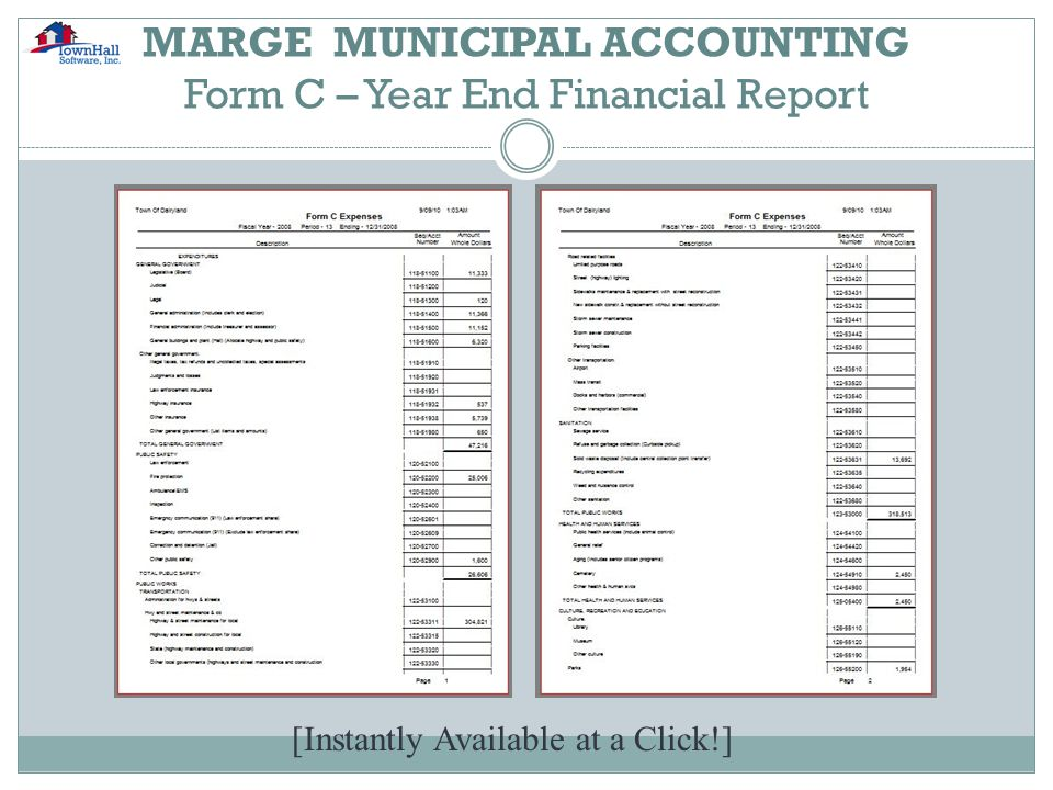 MARGE MUNICIPAL ACCOUNTING Form C – Year End Financial Report [Instantly Available at a Click!]