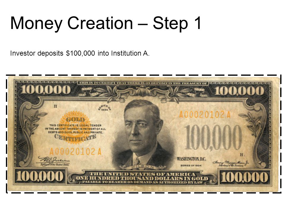Money Creation – Step 1 Investor deposits $100,000 into Institution A.