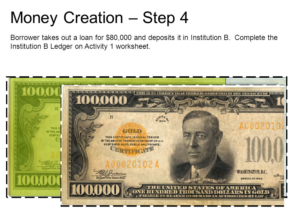Money Creation – Step 4 Borrower takes out a loan for $80,000 and deposits it in Institution B.