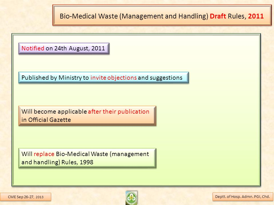 Bio-Medical Waste (Management and Handling) Draft Rules, 2011 Deptt.