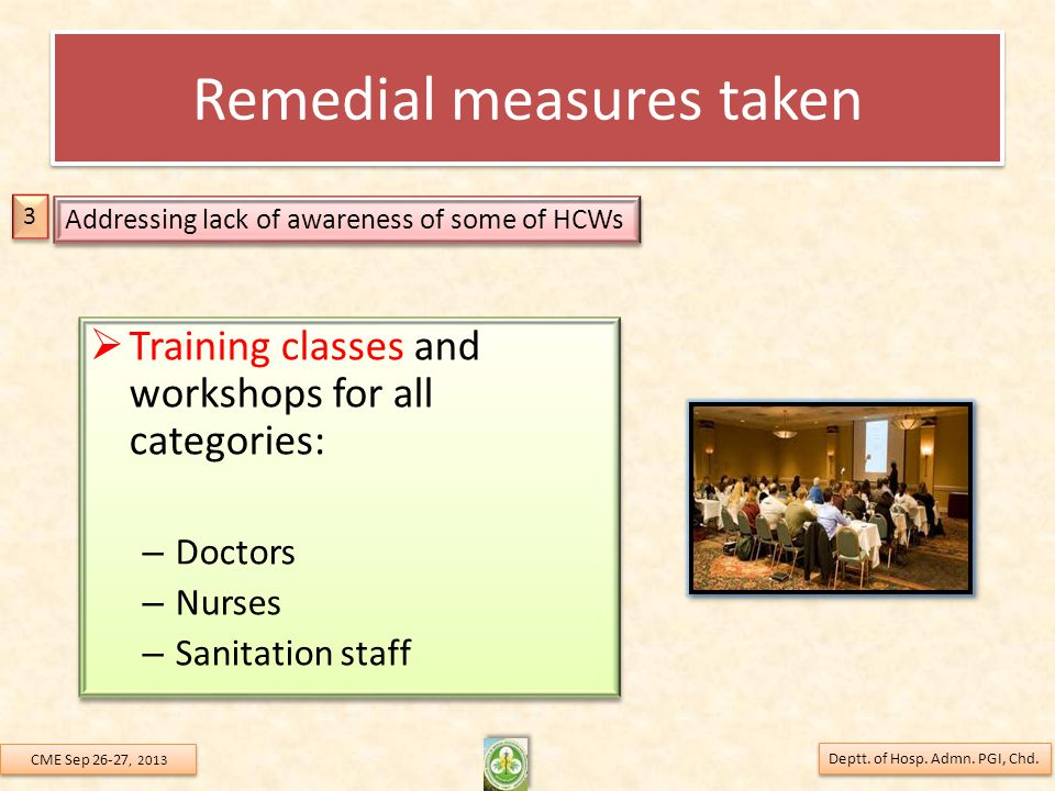 Remedial measures taken  Training classes and workshops for all categories: – Doctors – Nurses – Sanitation staff  Training classes and workshops fo