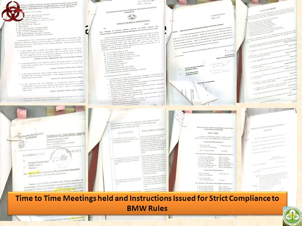 Scan of some circulars Time to Time Meetings held and Instructions Issued for Strict Compliance to BMW Rules