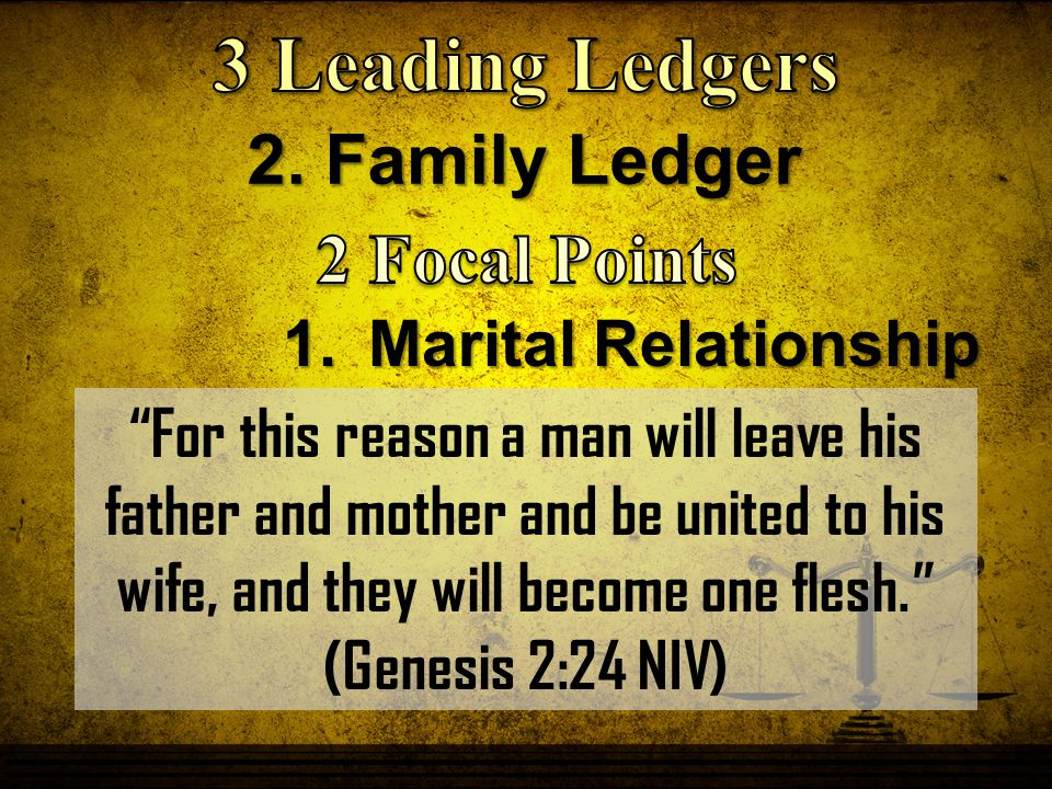 """2. Family Ledger 1.Marital Relationship """"For this reason a man will leave his father and mother and be united to his wife, and they will become one fl"""