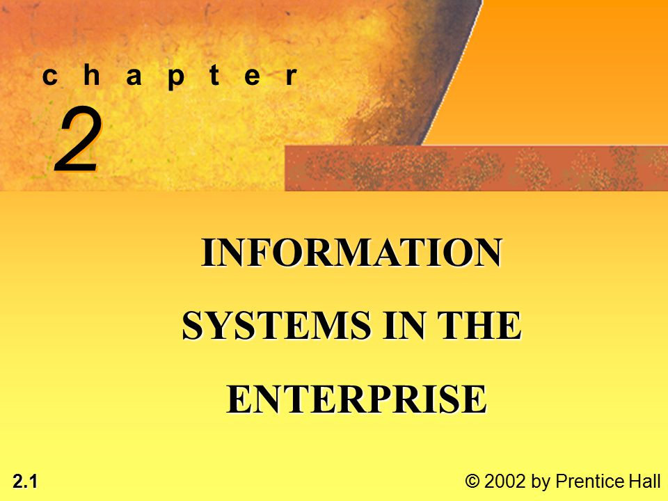 2.2 © 2002 by Prentice Hall LEARNING OBJECTIVES ANALYZE ROLES OF 6 TYPES OF INFORMATION SYSTEMSANALYZE ROLES OF 6 TYPES OF INFORMATION SYSTEMS DESCRIBE TYPES OF INFORMATION SYSTEMSDESCRIBE TYPES OF INFORMATION SYSTEMS ANALYZE RELATIONSHIPS BETWEEN BUSINESS PROCESSESANALYZE RELATIONSHIPS BETWEEN BUSINESS PROCESSES* © 2002 by Prentice Hall