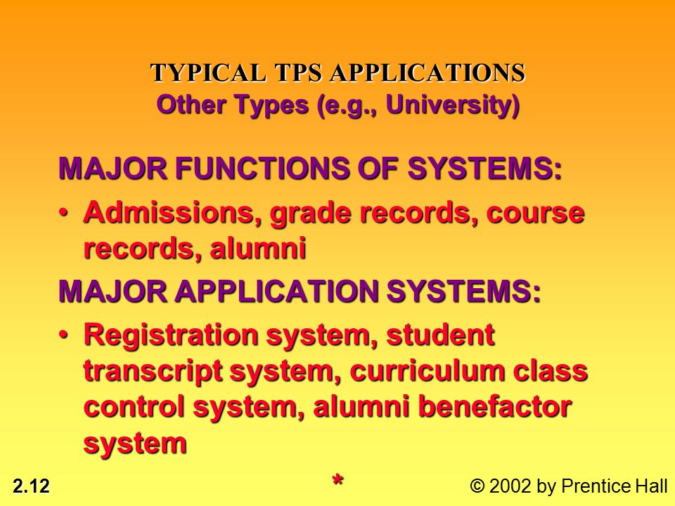 2.12 © 2002 by Prentice Hall TYPICAL TPS APPLICATIONS Other Types (e.g., University) MAJOR FUNCTIONS OF SYSTEMS: Admissions, grade records, course records, alumniAdmissions, grade records, course records, alumni MAJOR APPLICATION SYSTEMS: Registration system, student transcript system, curriculum class control system, alumni benefactor systemRegistration system, student transcript system, curriculum class control system, alumni benefactor system*